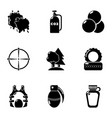 military exercise icons set simple style vector image vector image