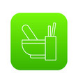 mortar with pestle icon green vector image