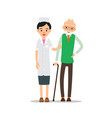 nurse and patient young physician stands and vector image vector image
