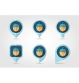 Nut mapping pins icons vector image vector image
