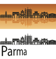 Parma skyline in orange background vector image