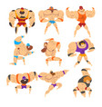 powerful wrestling fighter characters set vector image vector image