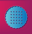 round biscuit sign blue 3d printed icon vector image vector image