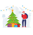 santa claus with gift bag and christmas tree vector image vector image