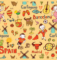 seamless background with symbols of spain vector image vector image
