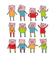 set of cute doodle pigs art vector image