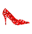 shoe made from hearts vector image vector image