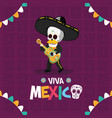skeleton playing guitar celebration viva mexico vector image