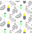 sketch line fruit salad seamless pattern vector image vector image