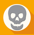 skull icon on white circle with a long shadow vector image vector image