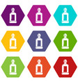 square bottle icons set 9 vector image vector image