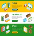 supermarket elements banner horizontal set vector image vector image