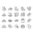 thai street food line icons vector image vector image