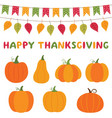 thanksgiving pumpkins and decoration vector image