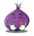 tongue out red onion character cartoon vector image vector image