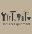 tools equipment brown set vector image vector image