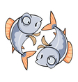 two mirrored cartoon fish vector image