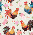 vintage seamless texture with cute roosters and vector image vector image