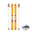 winter sport ski tools emblem vector image