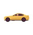 woman rides car modern yellow transport cartoon vector image
