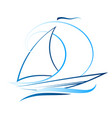 yacht with a sail vector image vector image