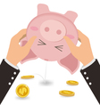 Businessman Shaking Money Coin Out of Cute Piggy vector image