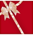 Pearls color gift bow with ribbon on red EPS 10 vector image