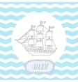 Greeting card invitation with blue stripes round vector image