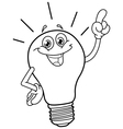 outlined cartoon light bulb vector image