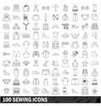100 sewing icons set outline style vector image vector image