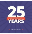 25 year anniversary card poster template vector image vector image