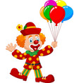 adorable clown holding colorful balloon isolated o vector image vector image