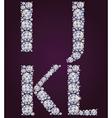 Alphabet of diamonds IJKL vector image