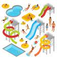 aqua park isometric icons set vector image vector image