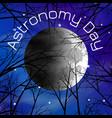 astronomy day night sky stars moon trees vector image vector image