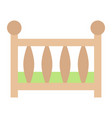 baby crib flat icon baby cot and bed vector image