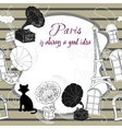 Background with Paris and gramophones vector image vector image