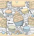 bakery products seamless pattern in sketch style vector image vector image
