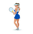 beautiful cartoon woman tennis player vector image