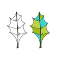 Black and white coloured leaf for coloring book vector image