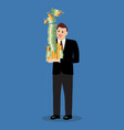 businessman holding a lot of money vector image vector image