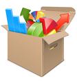 Carton Box with Statistics vector image vector image