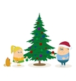 Children and Christmas fir tree vector image vector image