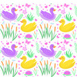 cute duck seamless pattern with reeds water lily vector image vector image