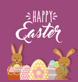 cute rabbits with baskets floral and eggs happy vector image