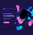 dark landing page template with a liquid vector image