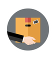 Delivery Flat Circle Icon Hand holding Package vector image vector image