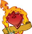 Flaming heart tattoo vector image