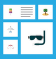 flat icon beach set of coconut recliner sundae vector image vector image