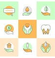 Flat icons set with charity and donation theme vector image
